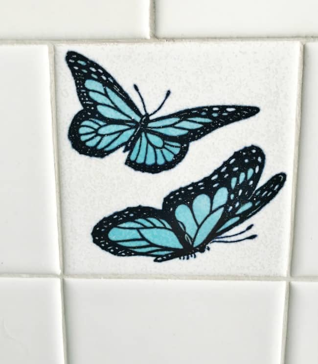 So much tile, including these butterflies.