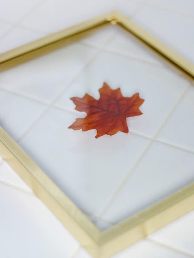 fall leaf framed for fall decorating