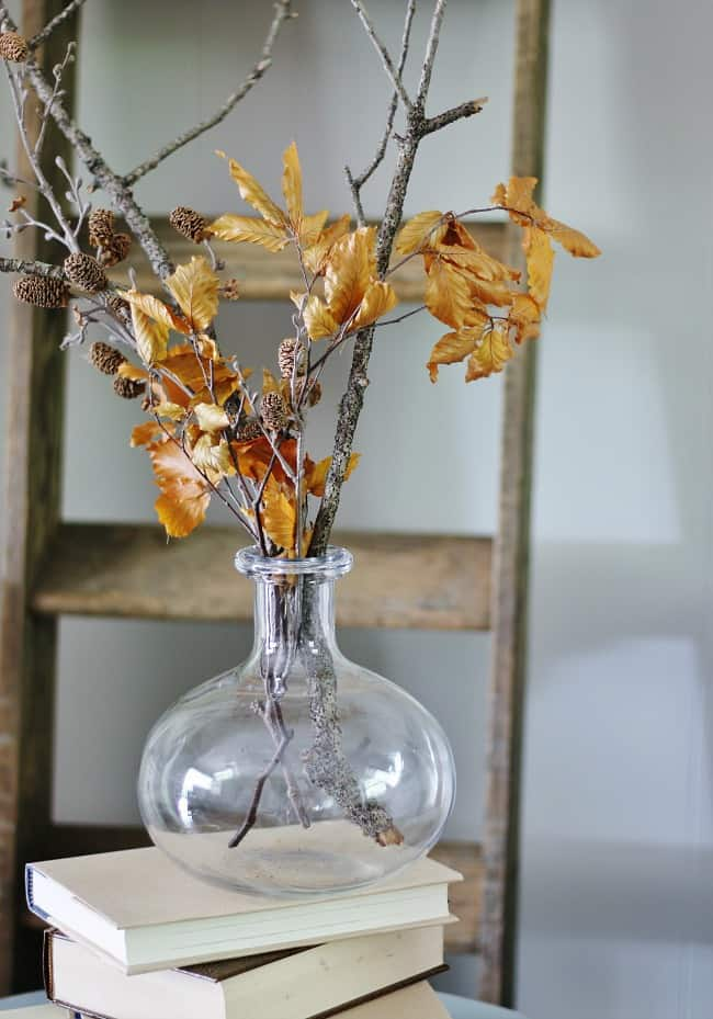 leaves in vase to decorate for fall