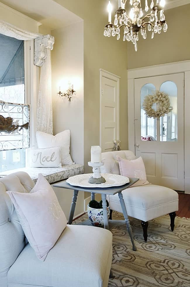 Christmas cottage seating and chandelier