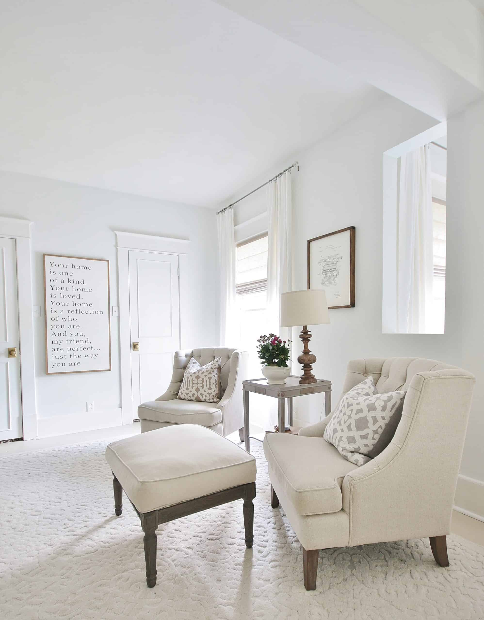 white chairs in bedroom