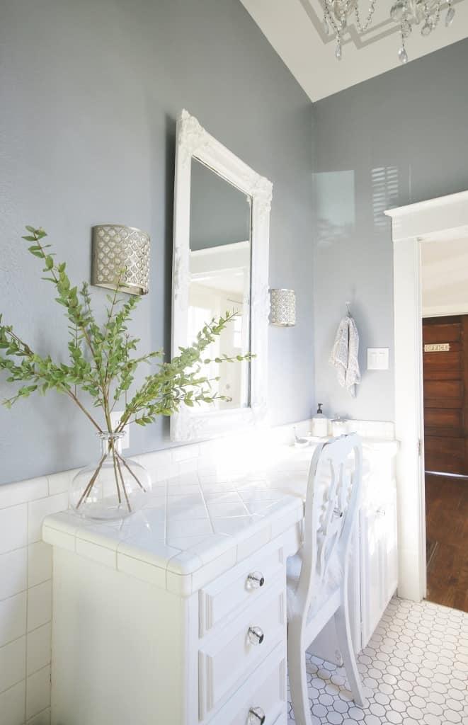bathroom desk with mirror
