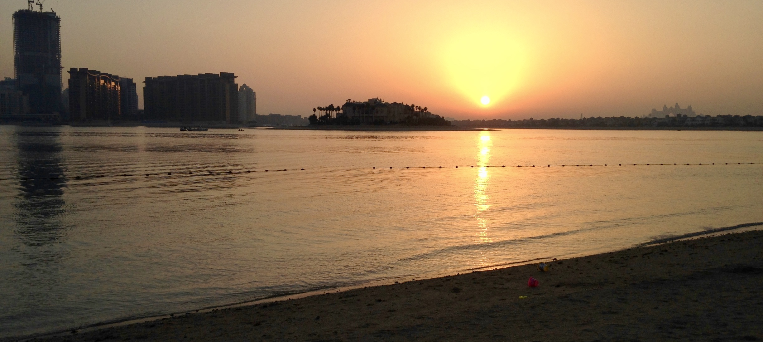 Sunset on the private beach at Rixos The Palm