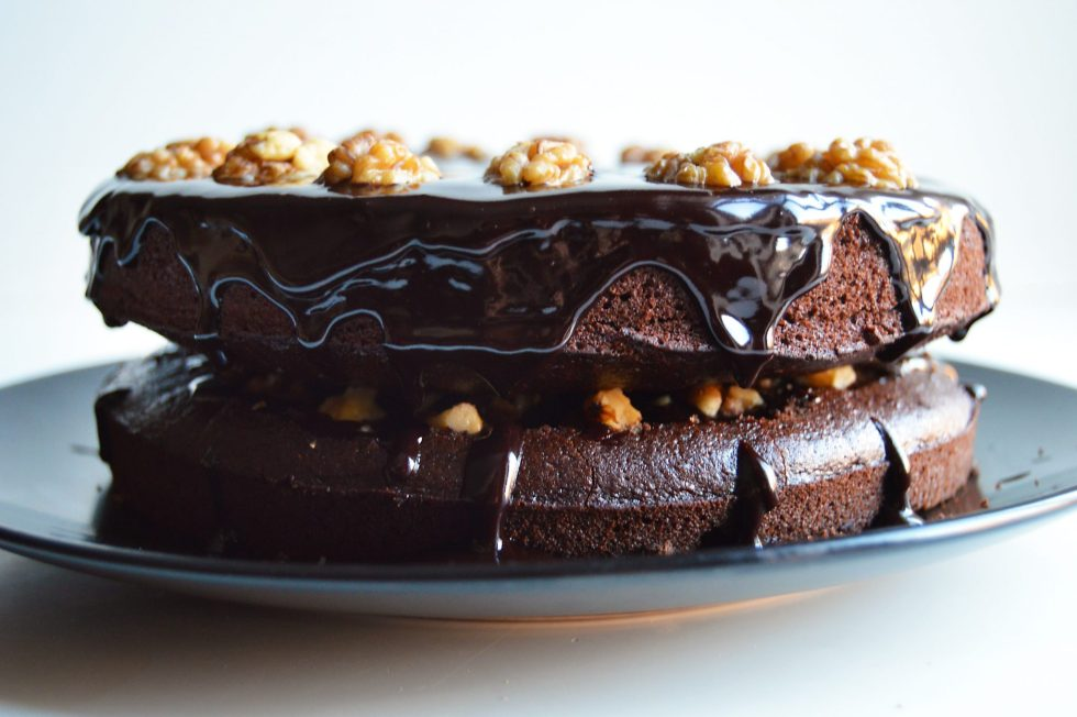 Vegan Chocolate Walnut Cake