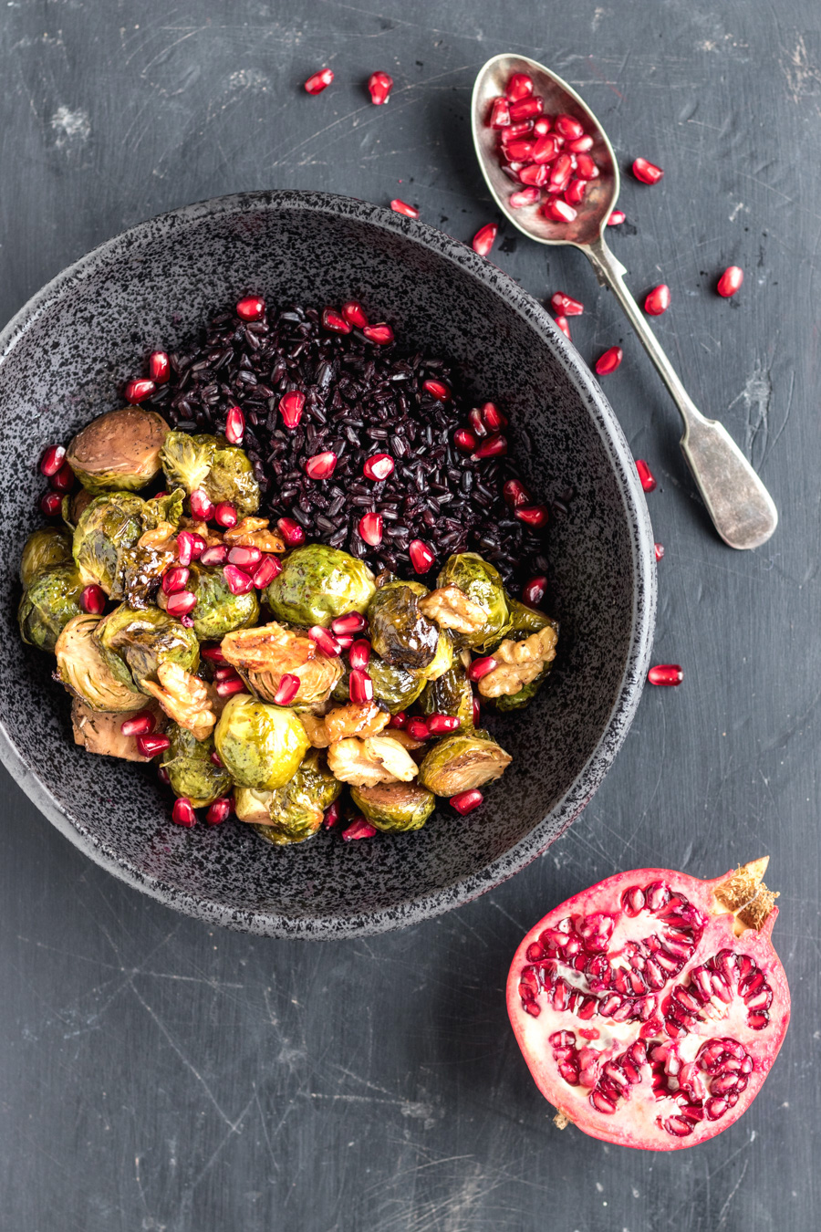 Balsamic Glazed Brussels Sprouts With Pomegranate And Toasted Walnuts