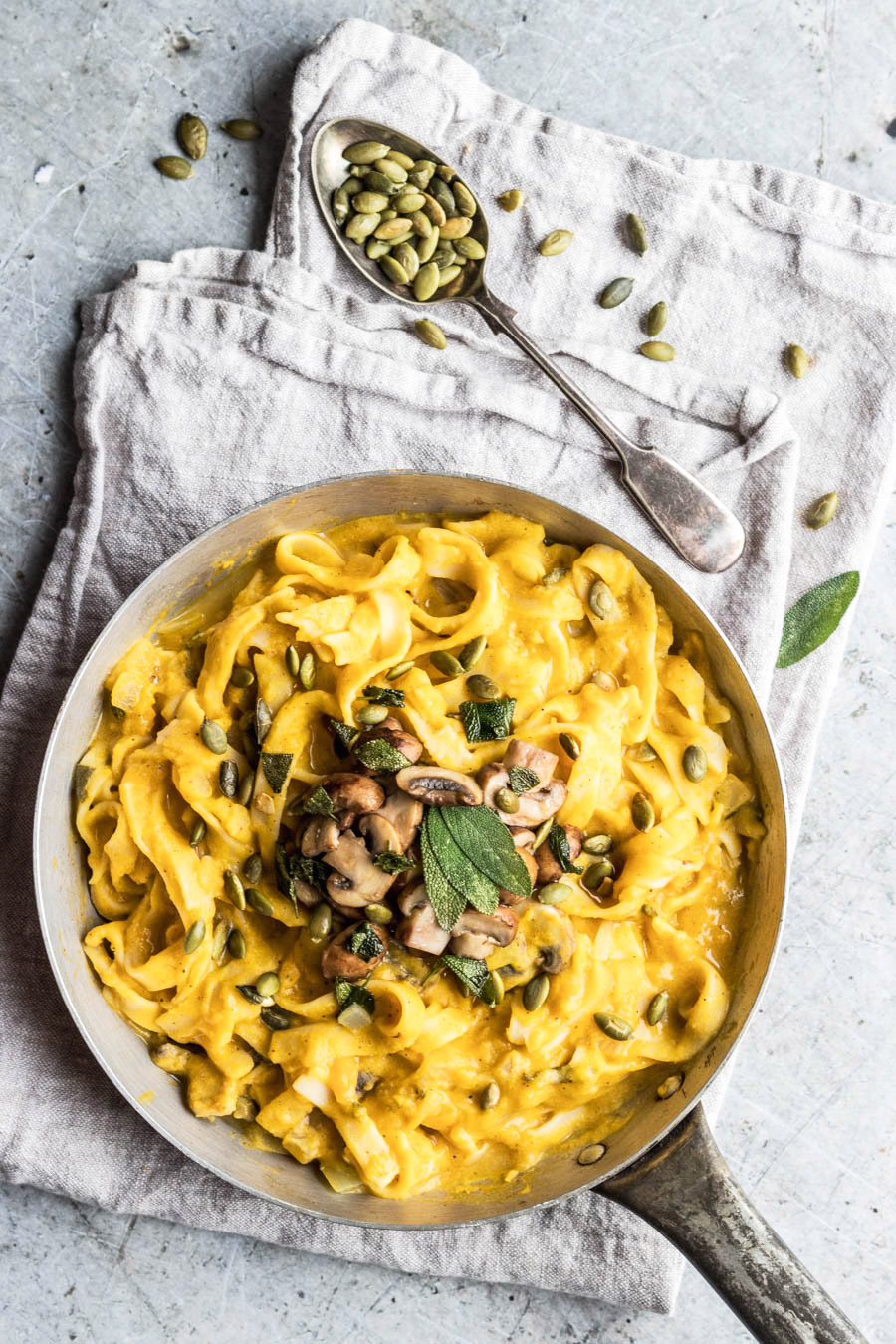 Vegan Pumpkin Fettuccine Alfredo With Sage & Mushrooms