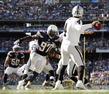 Oakland Raiders quarterback Derek Carr (4) throws a pass during an NFL football game against the San Diego Chargers at Qualcomm Stadium on Sunday, November 16, 2014 in San Diego, California. San Diego won the game 13 to 6. (AP Photo/Peter Read Miller)
