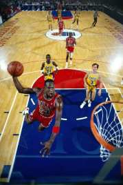 """1998 : Michael Jordan #23 of the Chicago Bulls goes in for a dunk against the Los Angeles Lakers circa 1988 at the Springfield Civic Center in Springfield, Massachusetts. This is the cover for the """"Come Fly With Me"""" home video. NOTE TO USER: User expressly acknowledges and agrees that, by downloading and/or using this Photograph, user is consenting to the terms and conditions of the Getty Images License Agreement. Mandatory Copyright Notice: Copyright 1988 NBAE (Photo by Andrew D. Bernstein/NBAE via Getty Images)"""