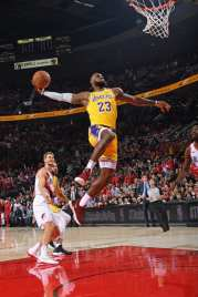 PORTLAND, OR - OCTOBER 18: LeBron James #23 of the Los Angeles Lakers dunks the ball against the Portland Trail Blazers on October 18, 2018 at the Moda Center Arena in Portland, Oregon. NOTE TO USER: User expressly acknowledges and agrees that, by downloading and or using this photograph, user is consenting to the terms and conditions of the Getty Images License Agreement. Mandatory Copyright Notice: Copyright 2018 NBAE (Photo by Andrew D. Bernstein/NBAE via Getty Images)