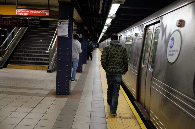 Bronx, NY Oct. 12, 2014 Travis on the train platform. Photo by M.B. Elian
