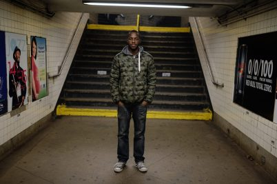 Bronx, NY Oct. 12, 2014 Travis poses for a portrait in the subway station. Photo by M.B. Elian