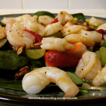 Shrimp and Fruit Spinach Salad with pecans and rapsberry vinaigarette
