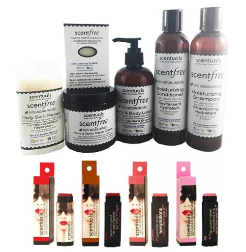 Scentfree set and lip tints