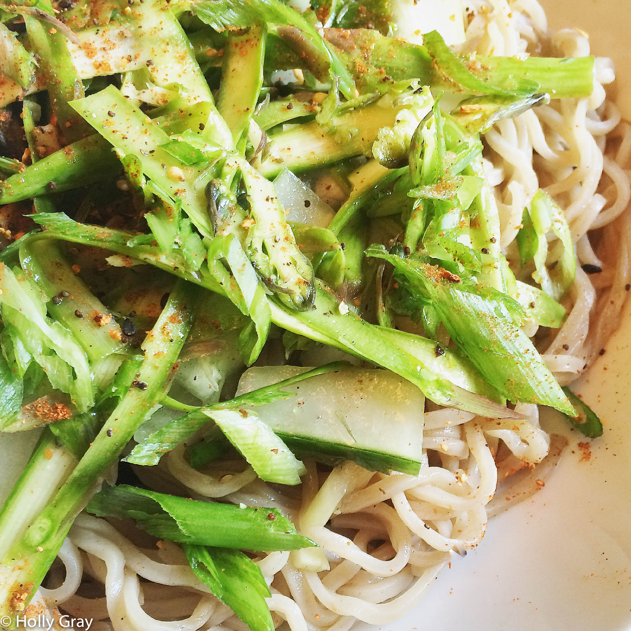 Cold Soba Noodle Salad with Asparagus and Cucumber