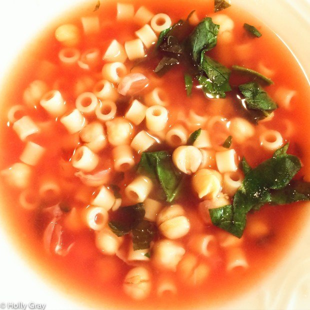 Chickpea and Pasta Soup with Spinach | thiswifecooks.com