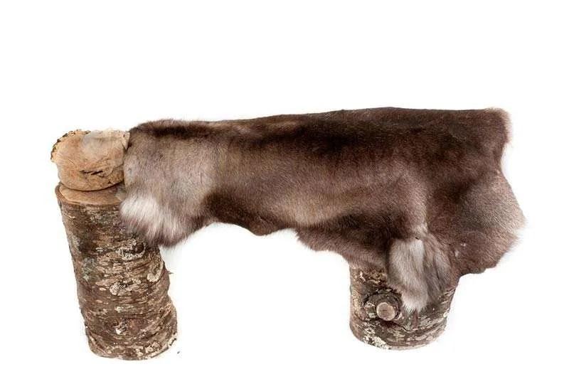 Wanda Gillespie, 'Seeker 2 (Kai)', 2016, woodcarving (Ash), fur, fabric 1600 x 700 x 500 mm