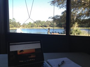 Using the wifi room at Oscar Scherer State Park
