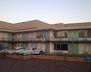 The wreath marks where Martin Luther King Junior was standing, in front of his motel room, when he was assassinated