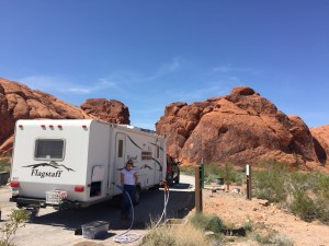 Me filling the water tank at Valley of Fire State Park - outside jobs!
