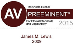 James M. Lewis AV rated for ethics and legal ability