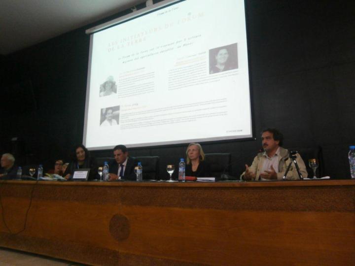 Forum de la Terre Séance plénière avec Fettouma Djerrari en modératrice Intervention de Hassan ASLAFY, pour présenter Orange Bleue Maghreb 12 nov 2016, Université Cadi Ayyad - Marrakech