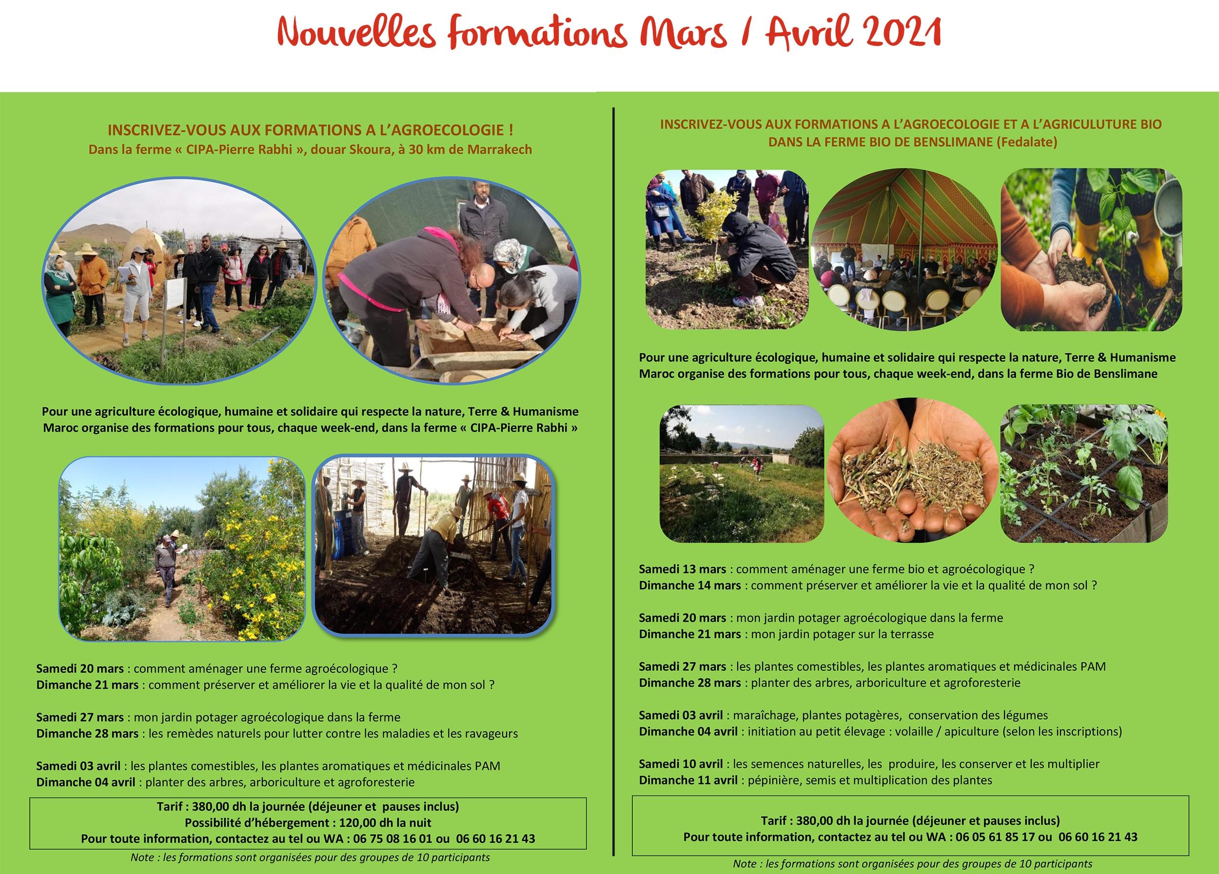 Calendrier de formation agroécologie Terre et humanisme maroc mars avril 2021 au Cipa-Pierre rabhi