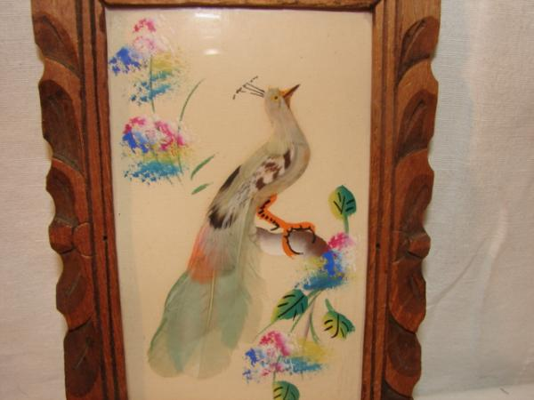 Mexican Feather Art Pheasant Bird In Wood Frame