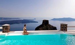 Tholos Resort Pool in front of Skaros Rock