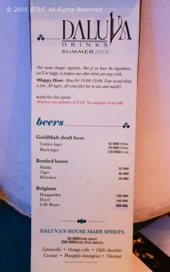 Drinks Menu (first page)