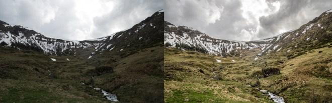 comparaison d'un paysage de montagne avant et après traitement en raw