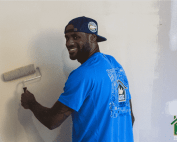 Lebron James lending Thomarios a helping hand in painting