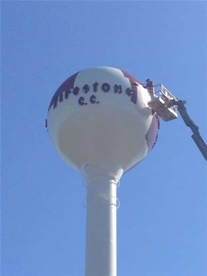 Thomarios Painting Firestone Country Club's Iconic Watertower