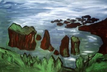 Azoren25-Felsengruppe im Meer bei Mosteiros