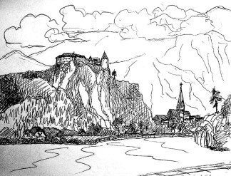 Balkan14-Bled-Blick zur Burg