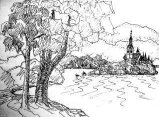 Balkan15-Bled-Blick zur Insel