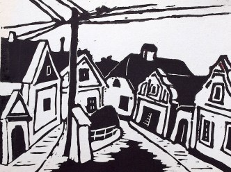 Maehren14-Jevisovice-Linolschnitt