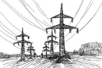 TeltowSk25 Landschaft mit Strommasten