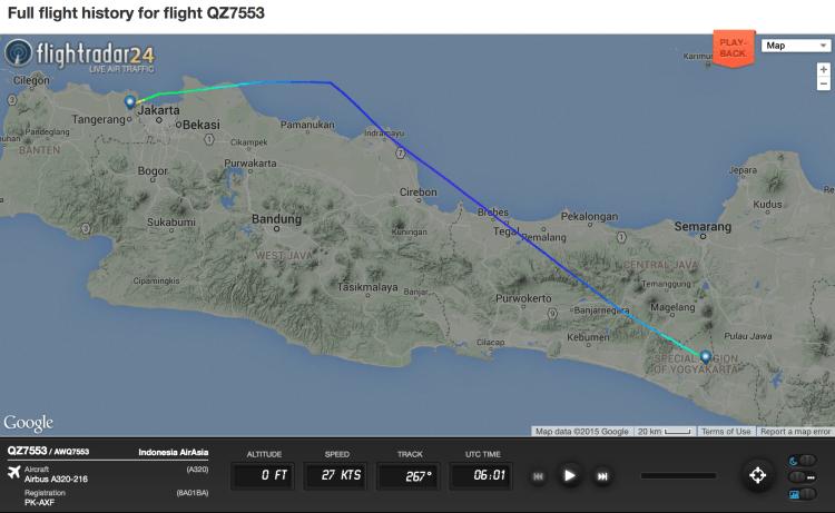 Data penerbangan AirAsia QZ-7553 tanggal 7 Juli 2015 dari situs Flightradar24.