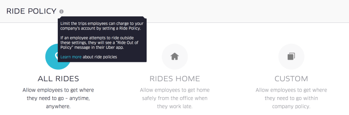 Uber for Business: Ride Policy