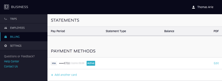 Uber for Business: Payment Settings