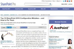 Top 10 SharePoint 2010 Configuration Mistakes