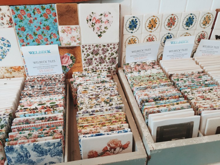 Selection Of Pretty Floral Handmade Cornish Welbeck Tiles In Penzance