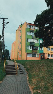 Colourful building block where Jacob used to live as a child.