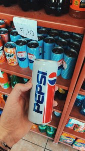 Vintage Pepsi can designs in a local store in Poland