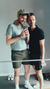A mirror selfie of both Jacob and myself before heading out. Both feeling super cute and wearing easy and casual shorts and tee-shirts picked up through thrifting