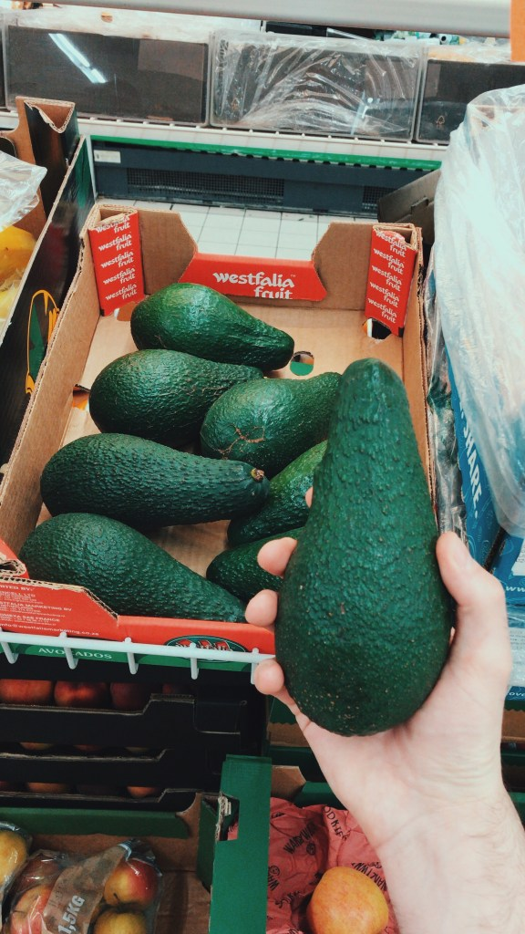 A shot of the size of the avocado against my hand shows how big they are. They are enormous and much bigger than any kind I've ever seen in the UK. They had this deep emerald green colour to them