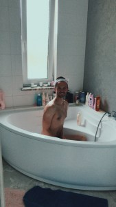 Cheeky Jacob in the bathtub having a pampering afternoon to himself.