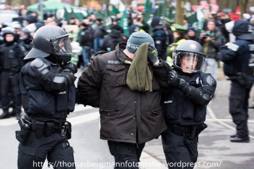 NAchdem er enen Gegendemonstranten schlug, wurde er festgenommen.