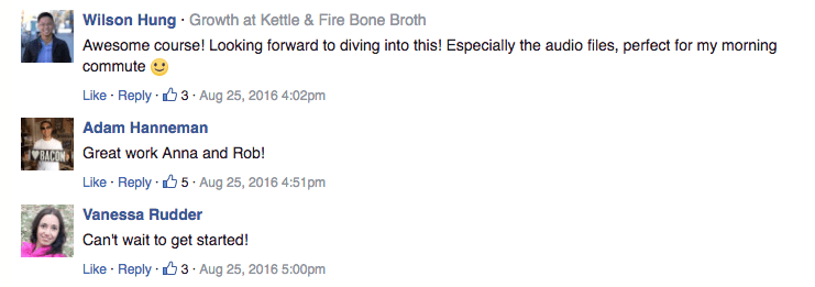Responses to the course