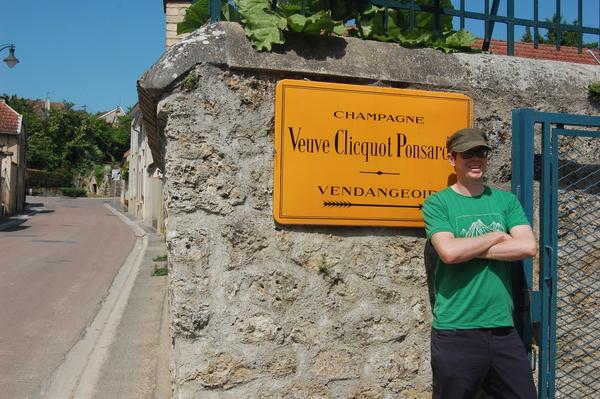 Tom at the Veuve Cliquot Sign